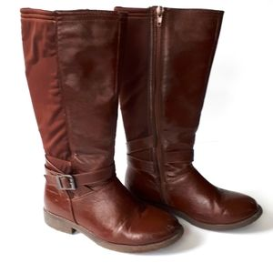 Tall Boot Vegan Leather Brown Junior Girl Size 1